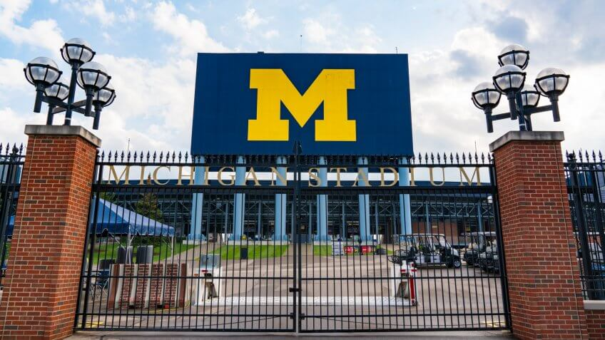 Ann Arbor, MI - September 21, 2019: Entrance gate at the University of Michigan Stadium, home of the Michigan Wolverines.