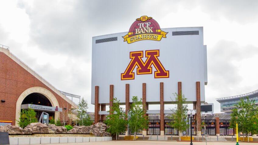 Minneapolis, United States - June 20, 2014: TCF Bank Stadium on the campus of the University of Minnesota.