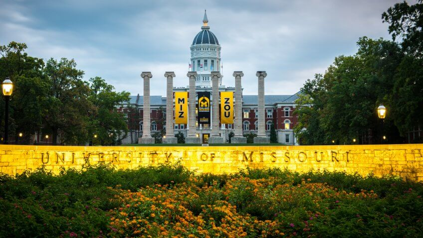 Columbia, MO - October 10, 2019: Completed in 1895, Jesse Hall is the main administration building for the University of Missouri.
