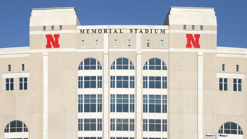 Lincoln, Nebraska, USA - May 18th 2012: Exterior view of the western facade of Nebraska's Memorial Stadium.