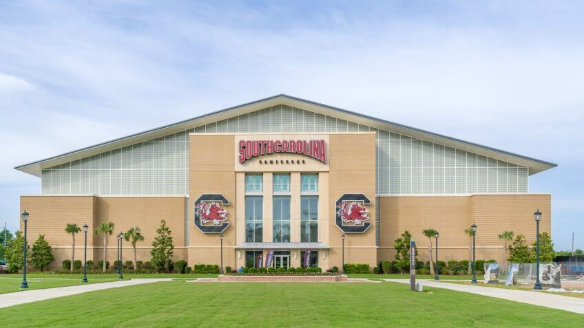 COLUMBIA, SC/USA JUNE 5, 2018: Jerri and Steve Spurrier Indoor Practice Facility on the campus of the University of South Carolina.