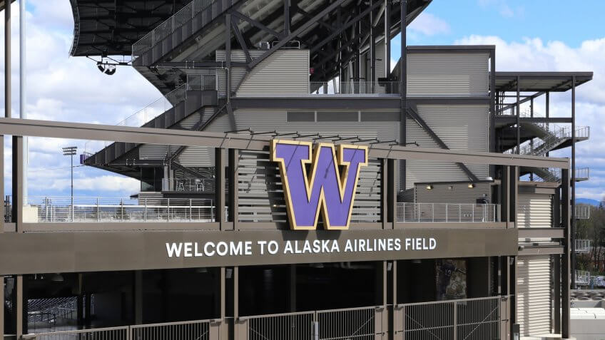 Seattle, WA, USA - April 13, 2017: The Alaska Airlines Field at Husky Stadium in Seattle.