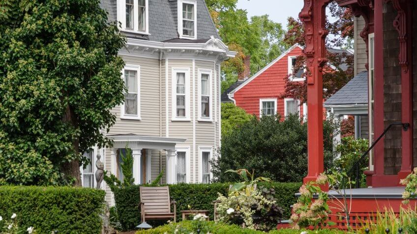 Victorian Style homes in Newport, Rhode Island.