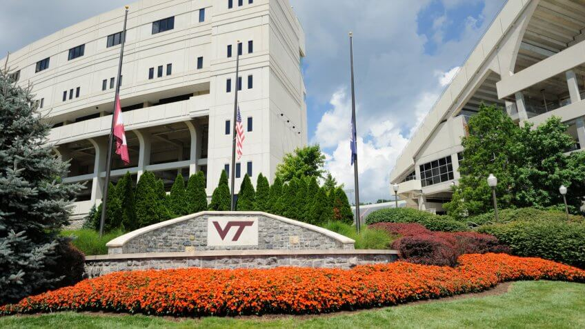 Blacksburg, Virginia, USA - July 19, 2016: Plaza near Lane Stadium on the campus of Virginia Polytechnic Institute and State University in Blacksburg, Virginia.