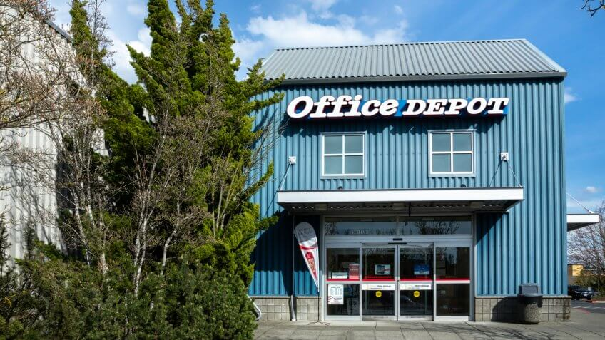 Bellevue, Washington / USA - April 1 2019: Entrance to an Office Depot store, a business supply and computer retailer.