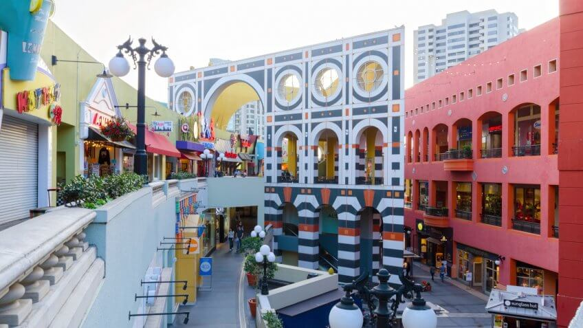 San Diego, United States of America - February 25, 2014: The Westfield Horton Plaza outdoor shopping mall in the Gaslamp Quarter in San Diego, southern California, United States of America.