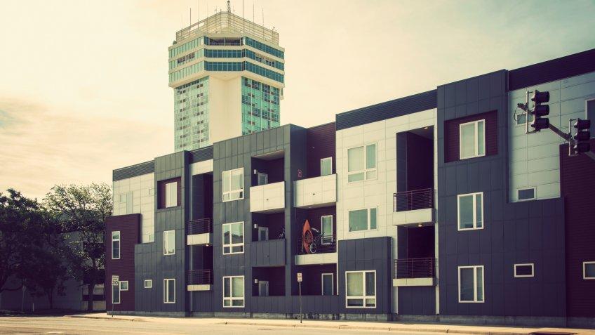 Wichita, Kansas/USA - May 16, 2019:   Modern, fresh-style city dwelling in downtown Wichita, Kansas.