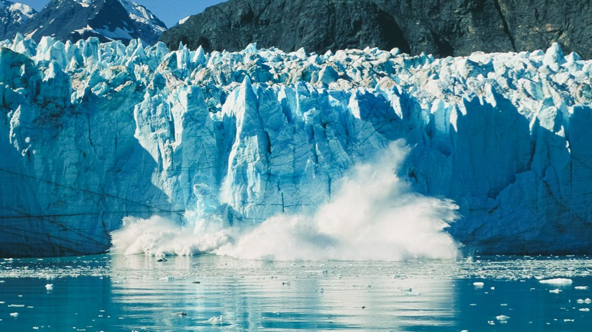 glacier calving in Alaskan Bay