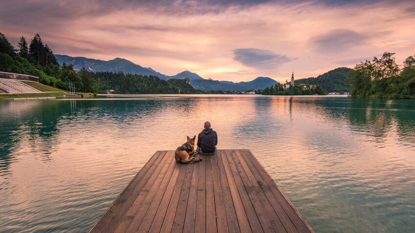 Man and dog sitting on wooden deck at Bled lake, Slovenia watching sunrise.