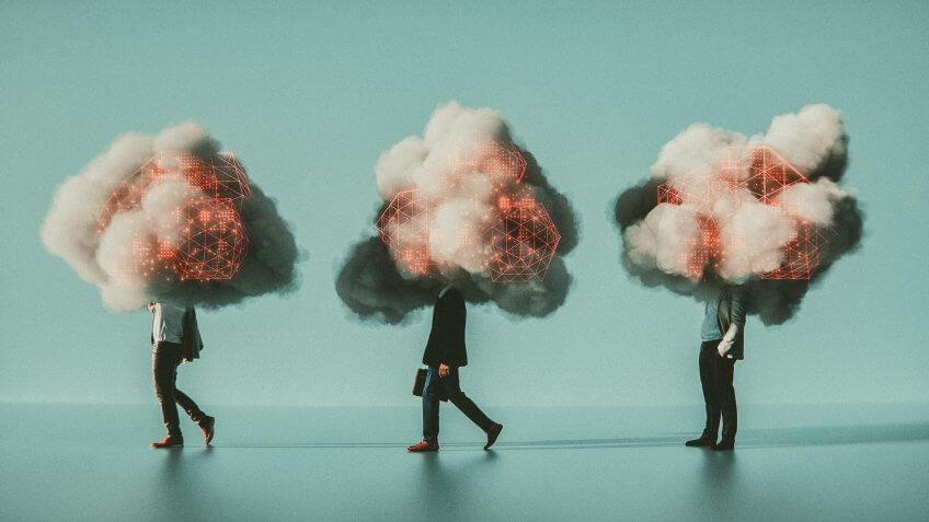 mobile cloud computing business man