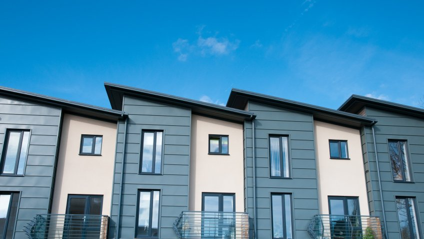 New build terraced houses.