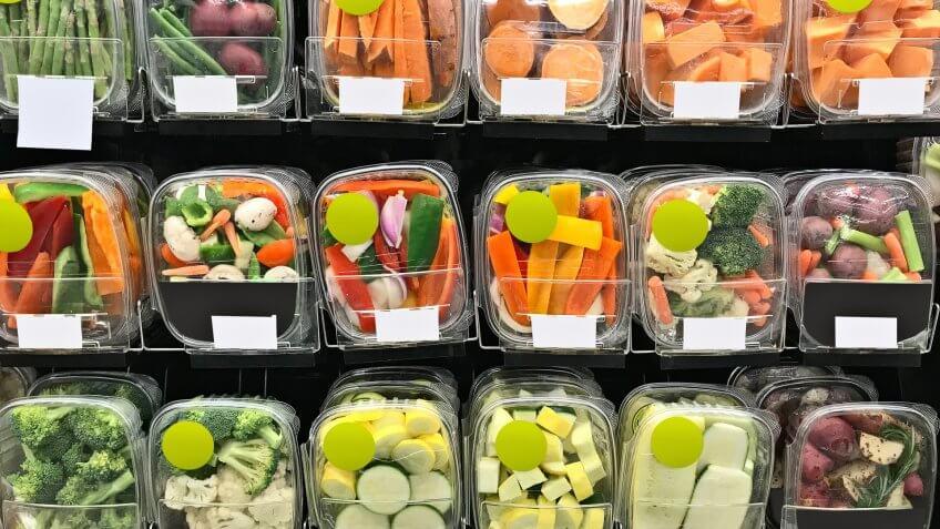 Groceries in supermarket.
