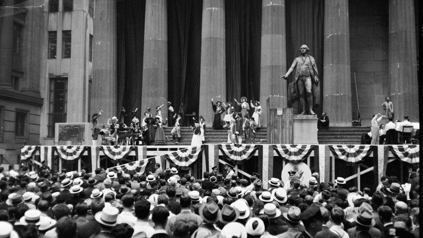 1930 pageant in front of U.S. Treasury building
