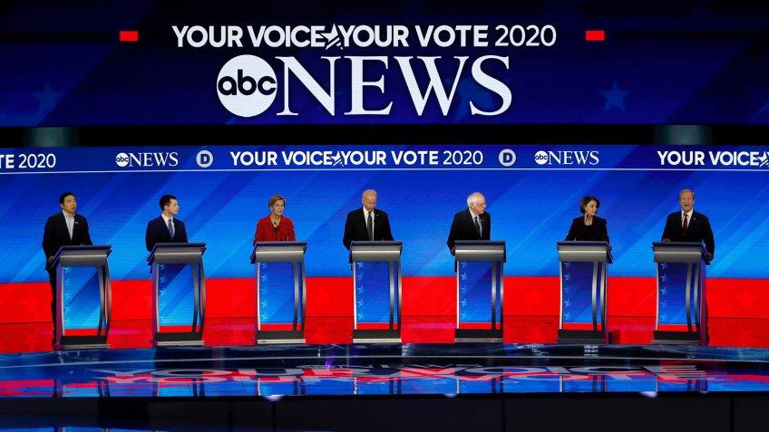 From left, Democratic presidential candidates entrepreneur Andrew Yang, former South Bend Mayor Pete Buttigieg, Sen.