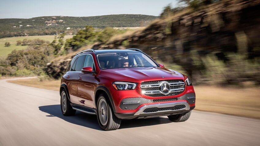 Mercedes-Benz GLE 450 4MATIC, designo hyazinthrot metallic, Leder macchiatobeige/magmagrau // Mercedes-Benz GLE 450 4MATIC, designo hyazinth red metallic, Leather macchiatobeige/magma grey(Kraftstoffverbrauch kombiniert: 9,4–8,3 l/100 km; CO2-Emissionen kombiniert: 214–190 g/km) // (combined fuel consumption: 9.