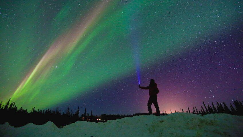 Aurora Northern Lights Night Sky Winter Fairbanks Alaska.