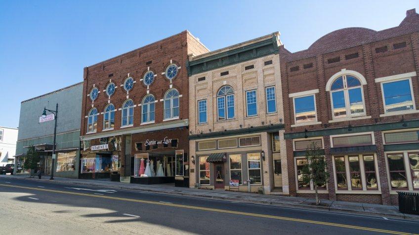 Looking down West Main Street, Albemarle Downtown Historic District, North Carolina.