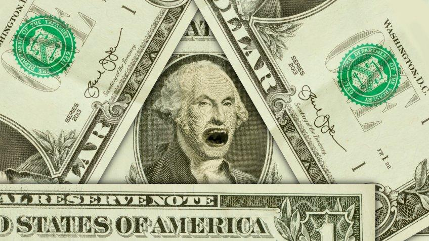 Emotional yelling George Washington with incredibly angry expression.