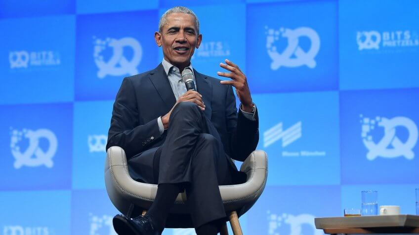 Former US President Barack Obama speaks during the opening ceremony of the 'Bits and Pretzels' startup conference in Munich, Germany, 29 September 2019.