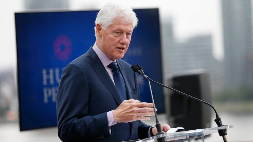 Former US President Bill Clinton announces the winner of the million dollar Hult Prize during the awards presentation at the 2019 Hult Prize Finals and Awards Gala at the United Nations on in New YorkThe Hult Prize Finals and Awards 2019 at the United Nations, New York, USA - 14 Sep 2019.