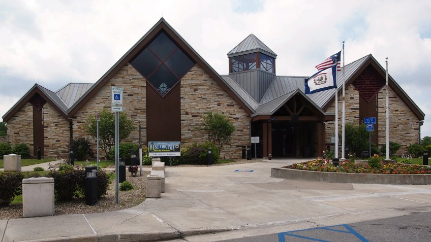 BRUCETON MILLS, WEST VIRGINIA - JULY 11, 2019: The I-68 Welcome Center in Bruceton Mills, WV welcomes visitors to the state with tourist information, restrooms, mountain views outside, and more.