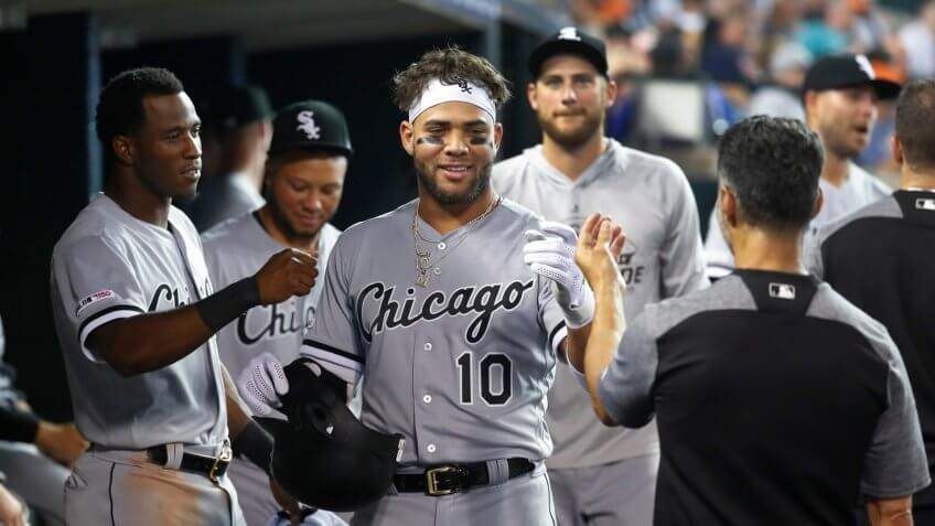 Chicago White Sox's Yoan Moncada (10) celebrates his two-run home run during the third inning of the team's baseball game against the Detroit Tigers in DetroitWhite Sox Tigers Baseball, Detroit, USA - 20 Sep 2019.