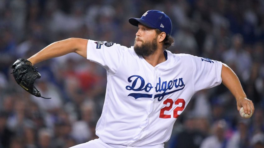Los Angeles Dodgers pitcher Clayton Kershaw throws against the Washington Nationals during the seventh inning in Game 5 of baseball's National League Division Series, in Los AngelesNLDS Nationals Dodgers Baseball, Los Angeles, USA - 09 Oct 2019.