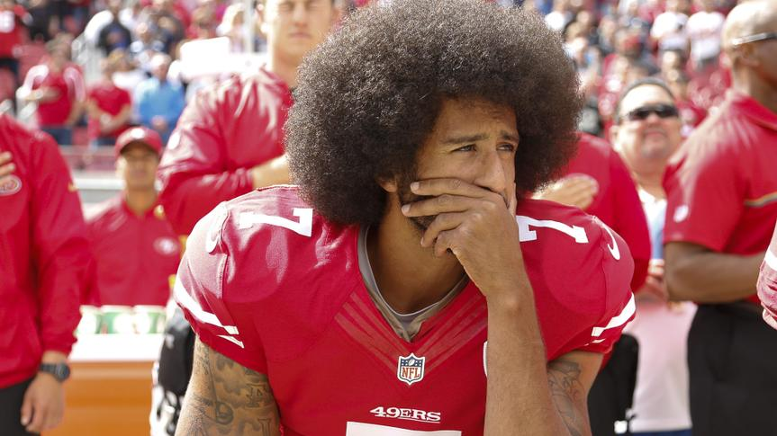 San Francisco 49ers Back-up Quarterback Colin Kaepernick Takes a Knee During the Us National Anthem Before the Nfl Game Between the Dallas Cowboys and the San Francisco 49ers at Levi's Stadium in Santa Clara California Usa 02 October 2016 Kaepernick is Protesting Police Brutality and Oppression in America United States Santa ClaraUsa American Football Nfl - Oct 2016.