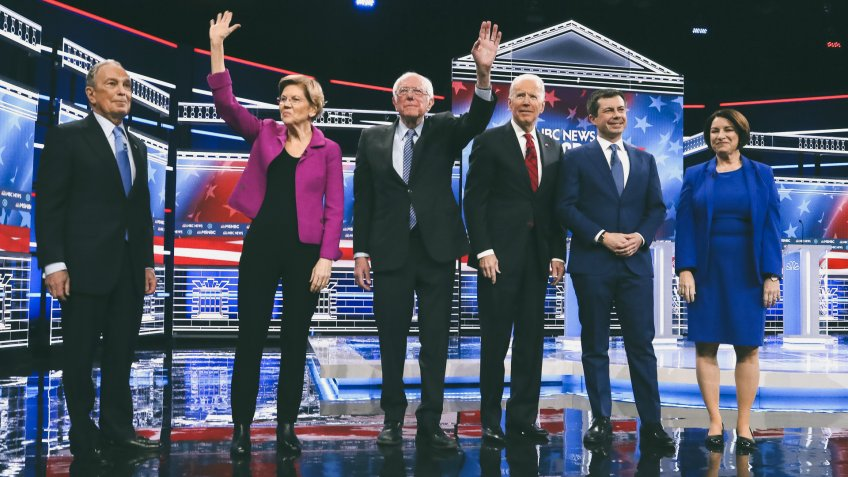Mandatory Credit: Photo by Matt Baron/Shutterstock (10561812k)Michael Bloomberg, Elizabeth Warren, Bernie Sanders, Joe Biden, Pete Buttigieg and Amy KlobucharNinth 2020 Democratic Party Presidential Debate, Las Vegas, USA - 19 Feb 2020.