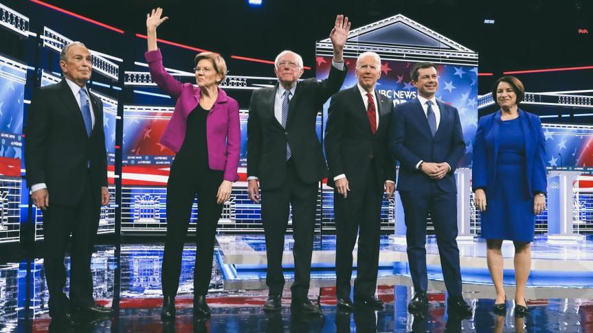 Michael Bloomberg, Elizabeth Warren, Bernie Sanders, Joe Biden, Pete Buttigieg and Amy KlobucharNinth 2020 Democratic Party Presidential Debate, Las Vegas, USA - 19 Feb 2020.
