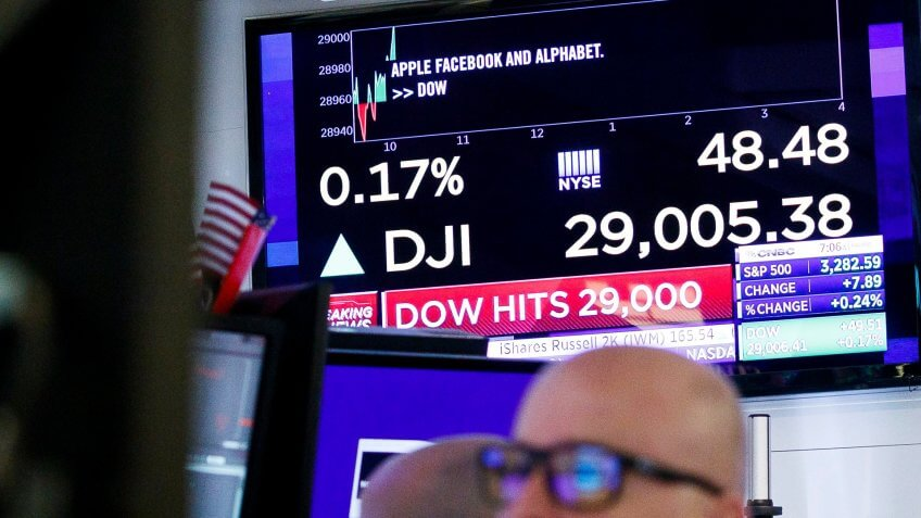 A screen shows the Dow Jones industrial average on floor of the New York Stock Exchange in New York, New York, USA, 10 January 2020.
