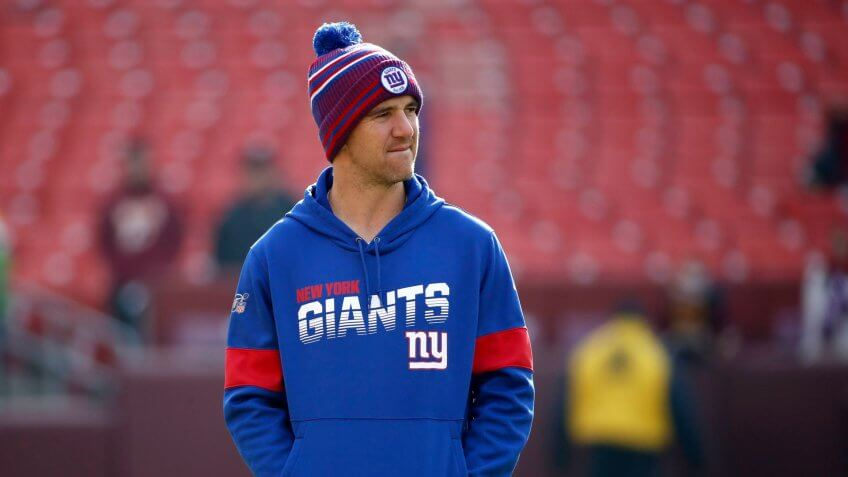New York Giants quarterback Eli Manning looks on prior to an NFL football game against the Washington Redskins, in Landover, MdGiants Redskins Football, Landover, USA - 22 Dec 2019.