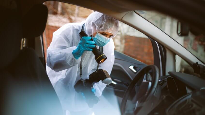 Photographer, Coroner, Crime Scene, Forensic Science, Protective Glove, Evidence.