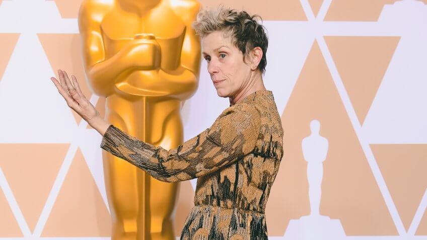 Frances McDormand - Lead Actress - 'Three Billboards Outside Ebbing, Missouri'90th Annual Academy Awards, Press Room, Los Angeles, USA - 04 Mar 2018WEARING VALENTINO.