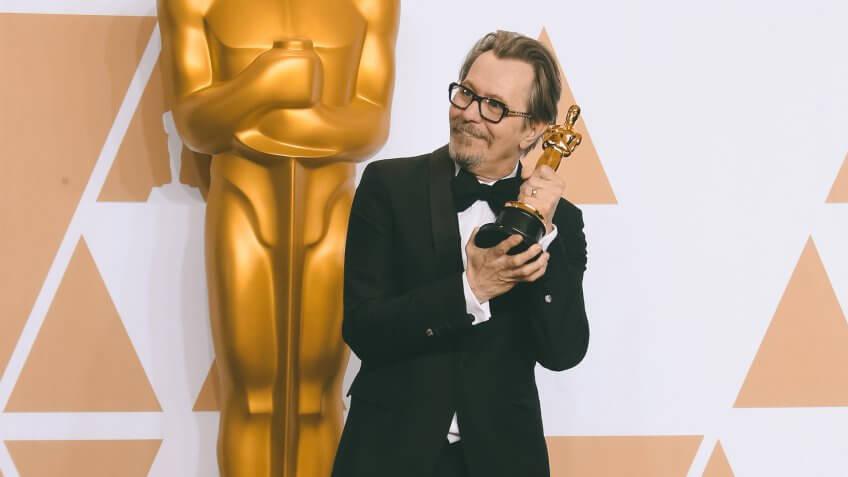 Gary Oldman 90th Annual Academy Awards, Press Room, Los Angeles, USA - 04 Mar 2018WEARING PRADA.