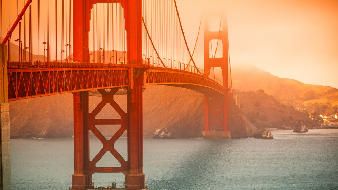 Golden Gate Bridge in San Francisco on a foggy day.