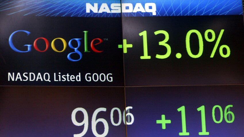 The price of Google stock is displayed shortly after the company's initial public offering and trading opened mid-day, at the Nasdaq Marketsite in Times Square, in New YorkGOOGLE IPO, NEW YORK, USA.
