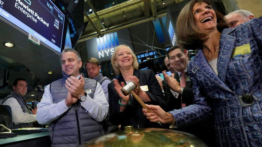 Meg Whitman, Pat Russo Hewlett Packard Enterprise President and Chief Executive Officer Meg Whitman, center, applauds as the company's board Chair Pat Russo, right, rings a ceremonial bell when their stock begins trading, on the floor of the New York Stock Exchange, .