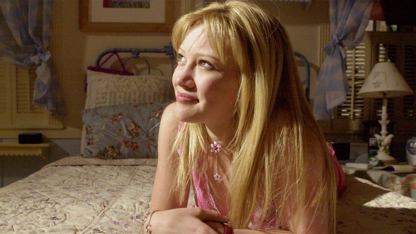 "DUFF Teen-age actress Hilary Duff, who plays the title role in Disney Channel's ""Lizzie McGuire,"" poses in Lizzie's bedroom on the show's set in the Hollywood section of Los Angeles on ."