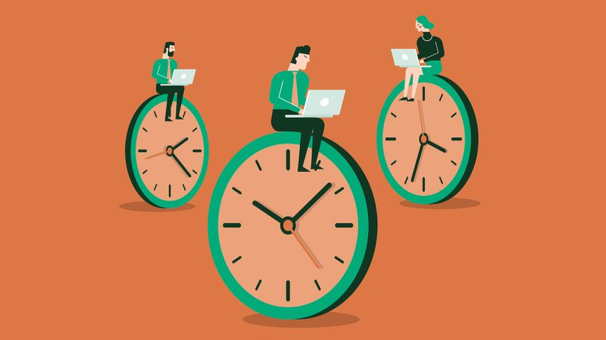 Business concept of time management and procrastination.