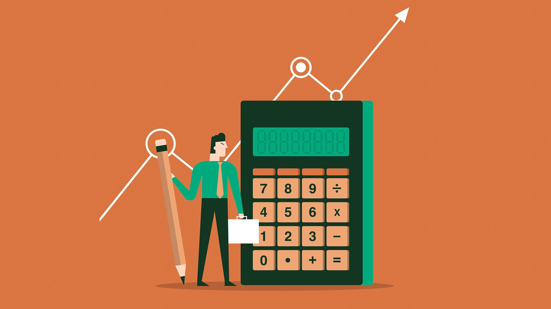 Accountant with a Calculator, Vector Illustration.