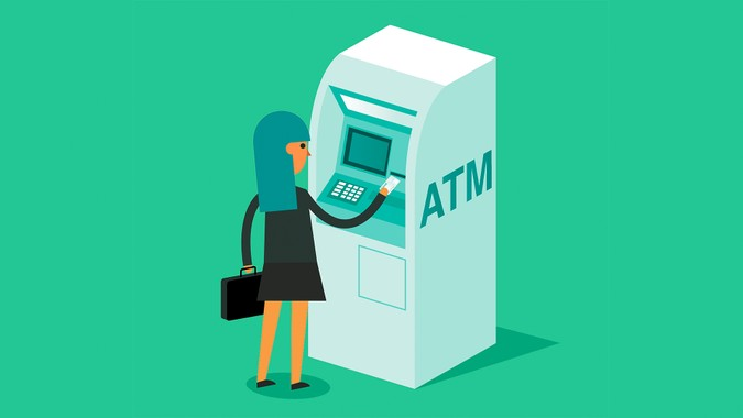 ATM machine and Credit Card.