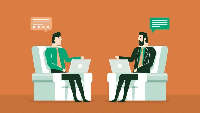 Press conferees business training concept.