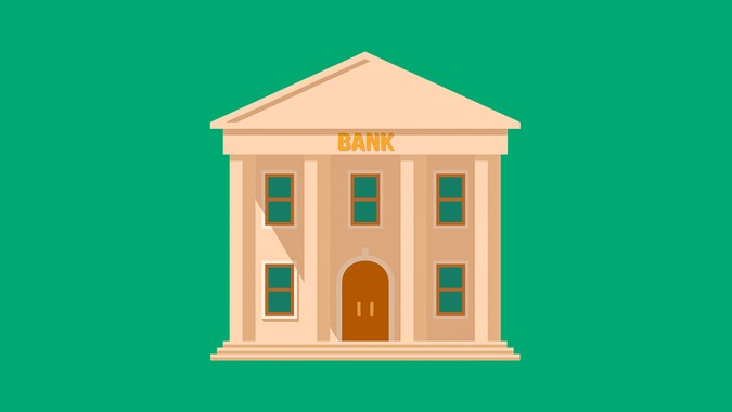 Flat detailed bank building icon.