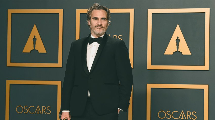 "Joaquin Phoenix, winner of the award for best performance by an actor in a leading role for ""Joker"", poses in the press room at the Oscars, at the Dolby Theatre in Los Angeles92nd Academy Awards - Press Room, Los Angeles, USA - 09 Feb 2020."