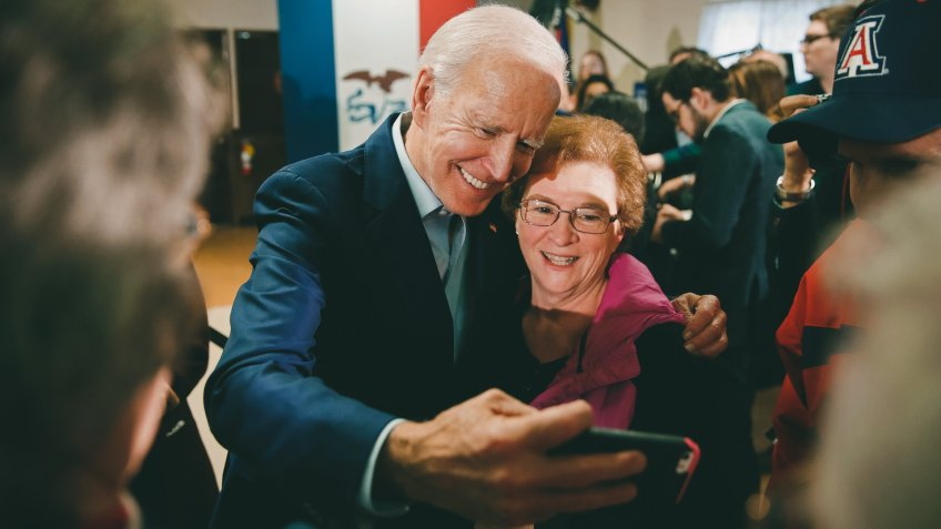 Democratic presidential candidate former Vice President Joe Biden takes a selfie during a campaign event on foreign policy at a VFW post, in Osage, IowaElection 2020 Joe Biden, Osage, USA - 22 Jan 2020.