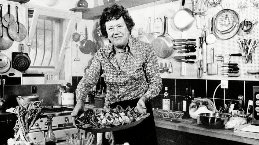 Julia Child American television chef Julia Child shows a salade nicoise she prepared in the kitchen of her vacation home in Grasse, southern France.
