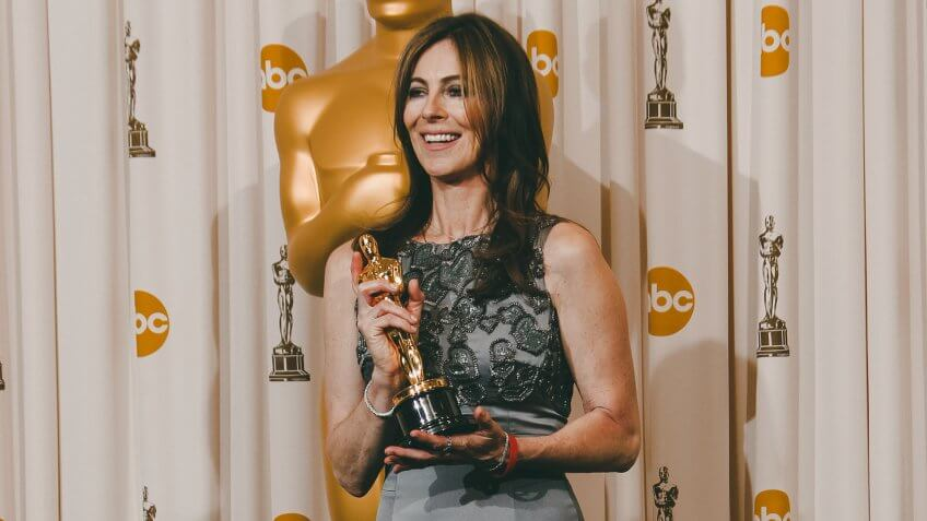 """Kathryn Bigelow Kathryn Bigelow poses backstage with the Oscar for best achievement in directing for """"The Hurt Locker"""" at the 82nd Academy Awards, in the Hollywood section of Los AngelesOscars - Press Room, Los Angeles, USA."""