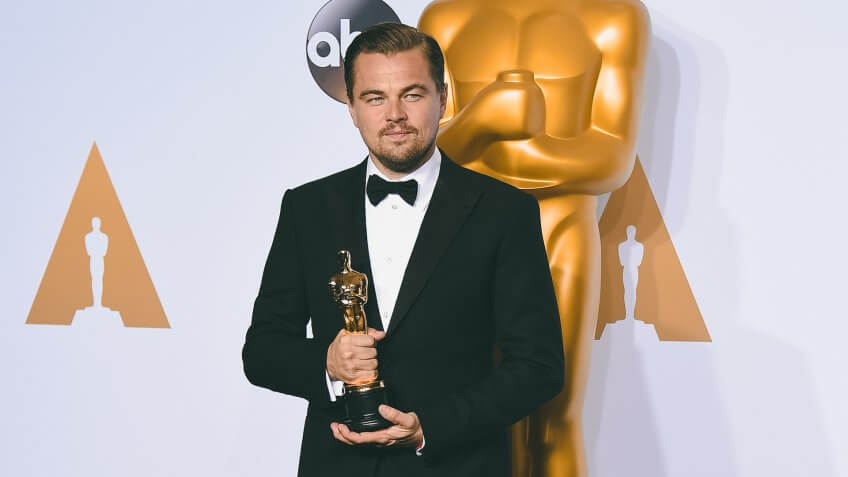 Leonardo DiCaprio poses in the press room with the award for best actor in a leading role for The Revenant at the Oscars, at the Dolby Theatre in Los Angeles88th Academy Awards - Press Room, Los Angeles, USA.