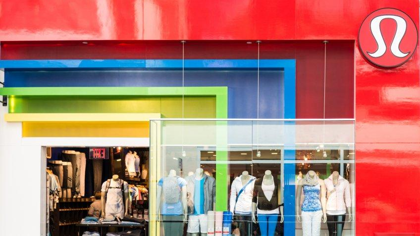 """""""Toronto, Canada - May 17, 2012: Lululemon Athletica,  a yoga-inspired athletic apparel company, shop storefront in the city of toronto, canada""""."""
